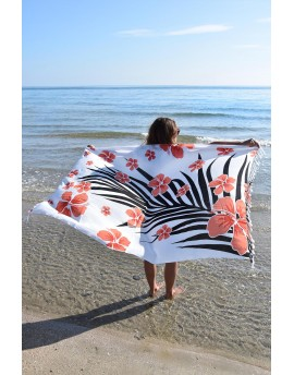 Sarong FLOWER Corail